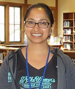 Photo of volunteer at library