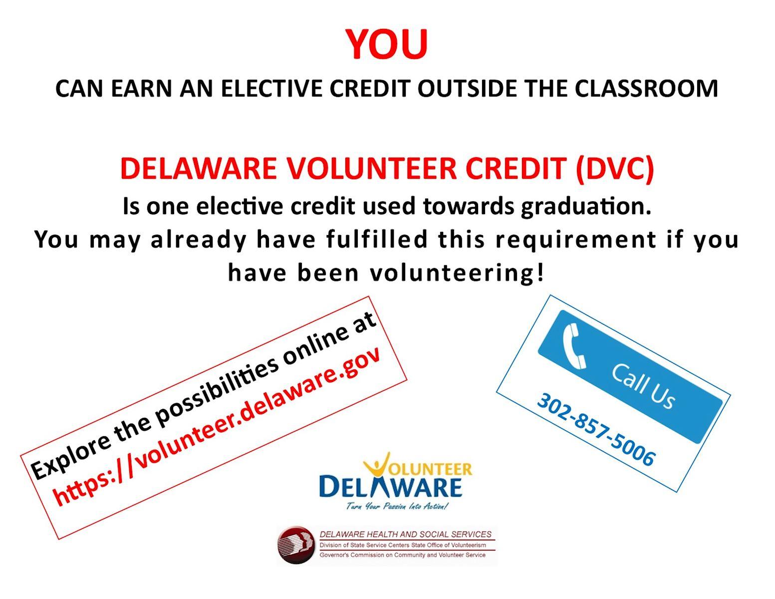 Volunteer Delaware   Delaware Volunteer Credit For High
