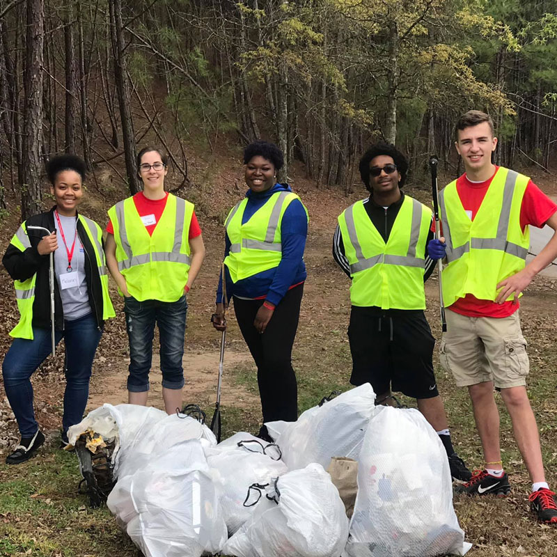 Student group during AAR cleanup