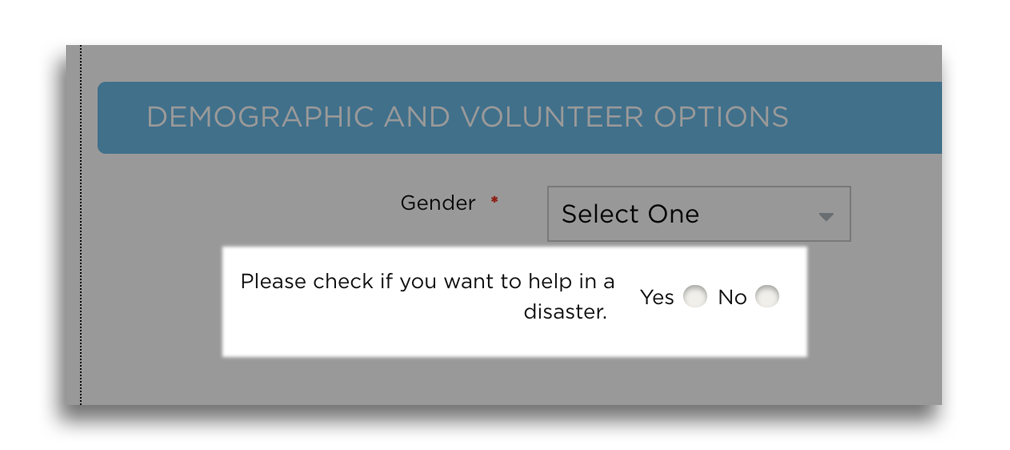 screengrab: look for the question about disaster volunteerism when you sign up for a hon.org account