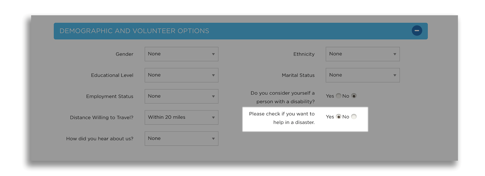 screengrab: hit the plus sign in the blue bar that says demographic and volunteer options to toggle your disaster preferences