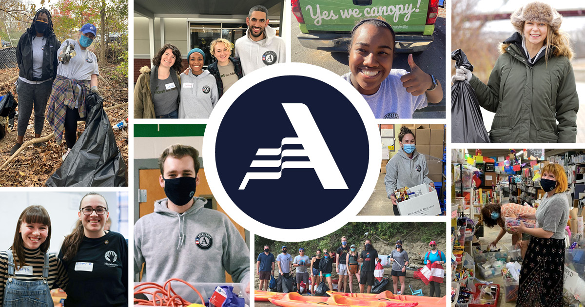 A photo collage of AmeriCorps members engaging in service