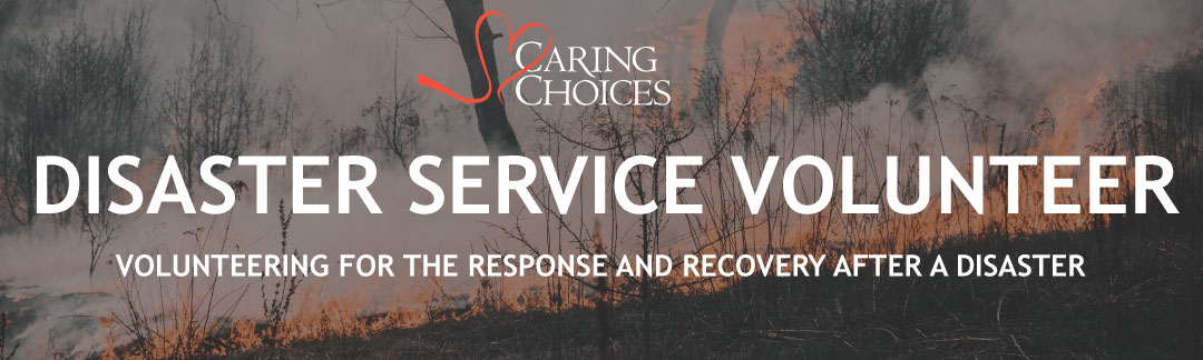 forest on fire with text disaster service volunteer, volunteering for the response and recovery after a disaster