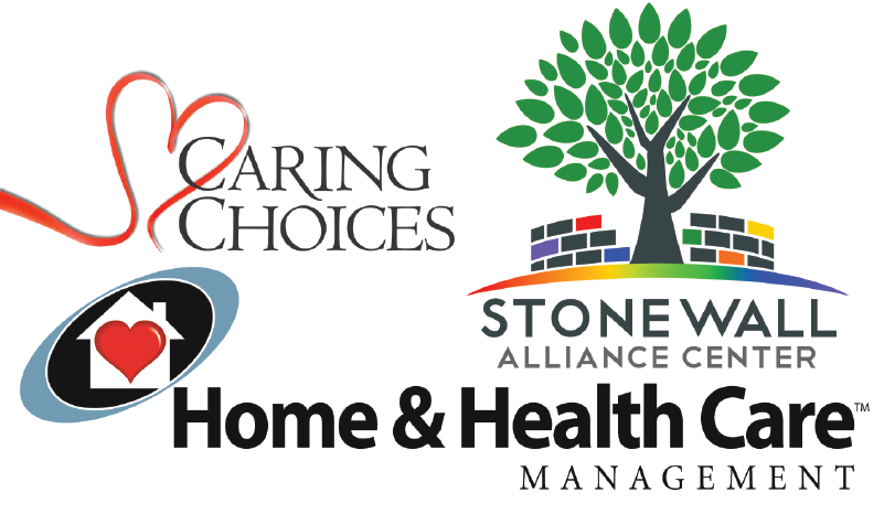 Caring Choices logo in black with red heart, stnewall logo tree in front of multi colored brick wall, home and health care logo outline of house inside a black and blue oval.