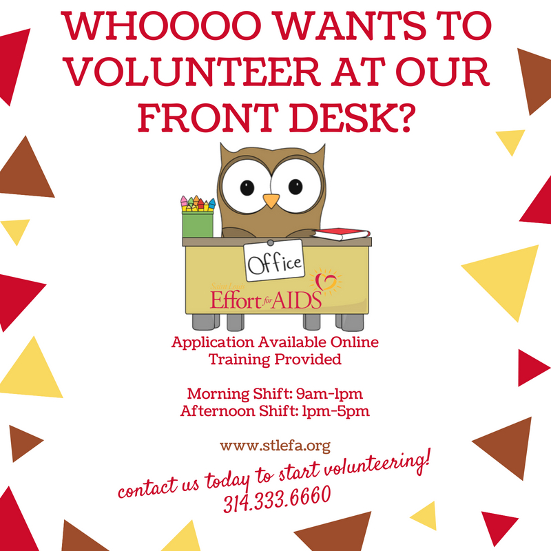 Whooooo Wants to Volunteer at our Front Desk?  (Owl Image at front desk)