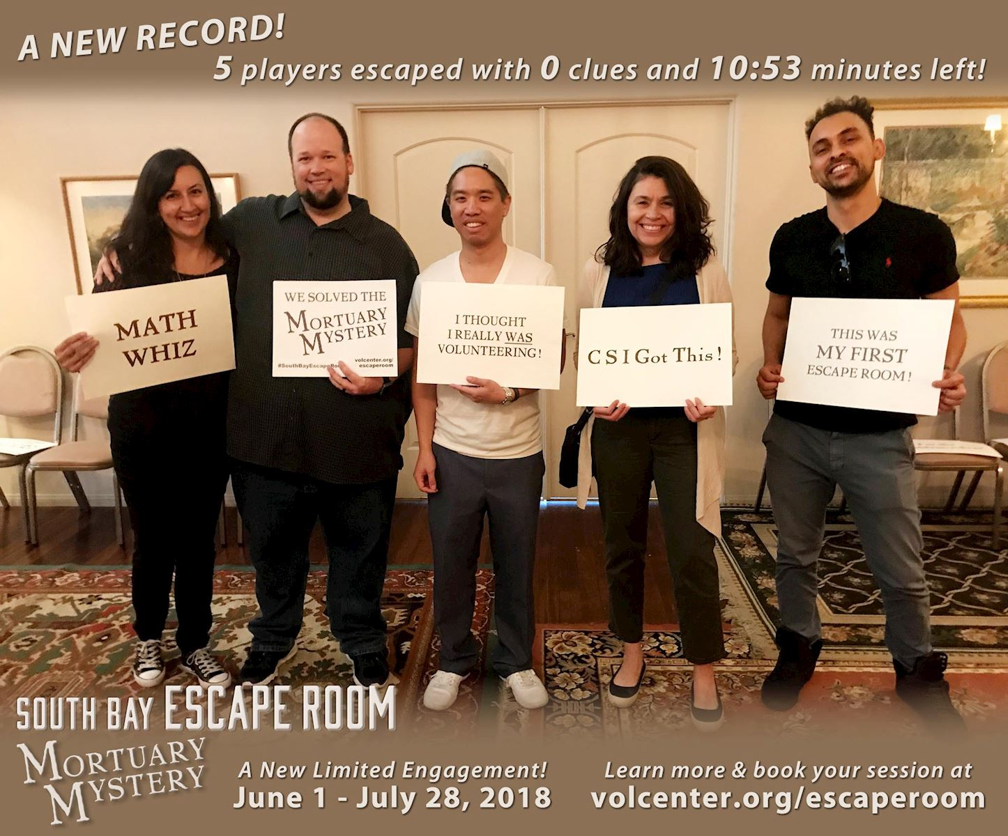 A new record for South Bay Escape Room: Mortuary Mystery!