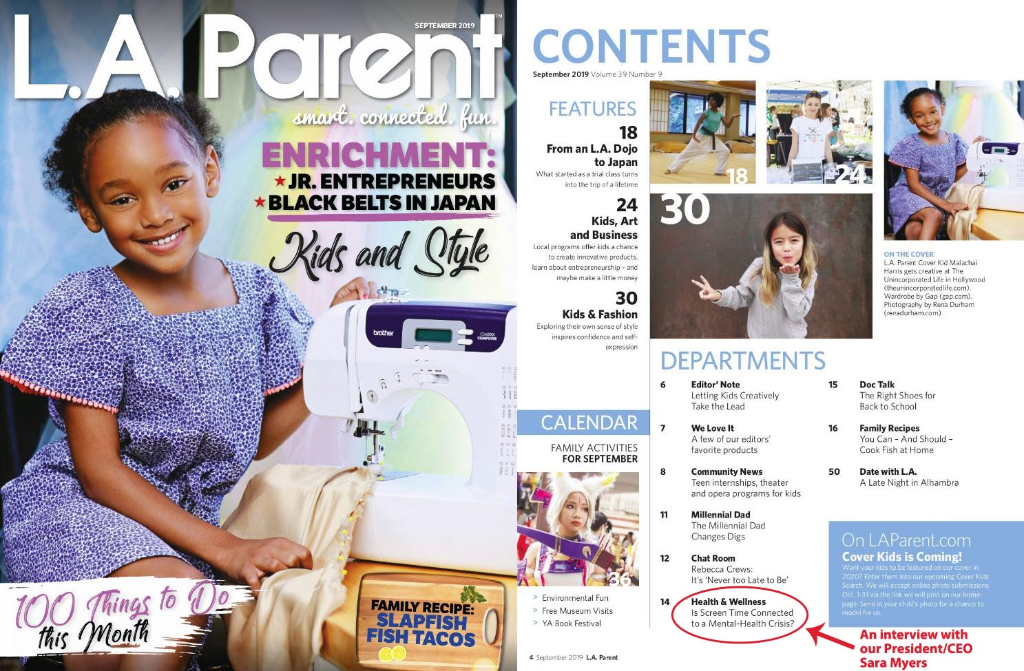 L.A. Parent Magazine - September 2019 - Screen Time and Mental Health