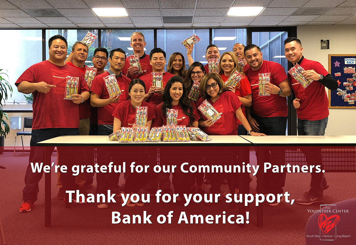 We are grateful for our Community Partners. Thank you for your support, Bank of America!