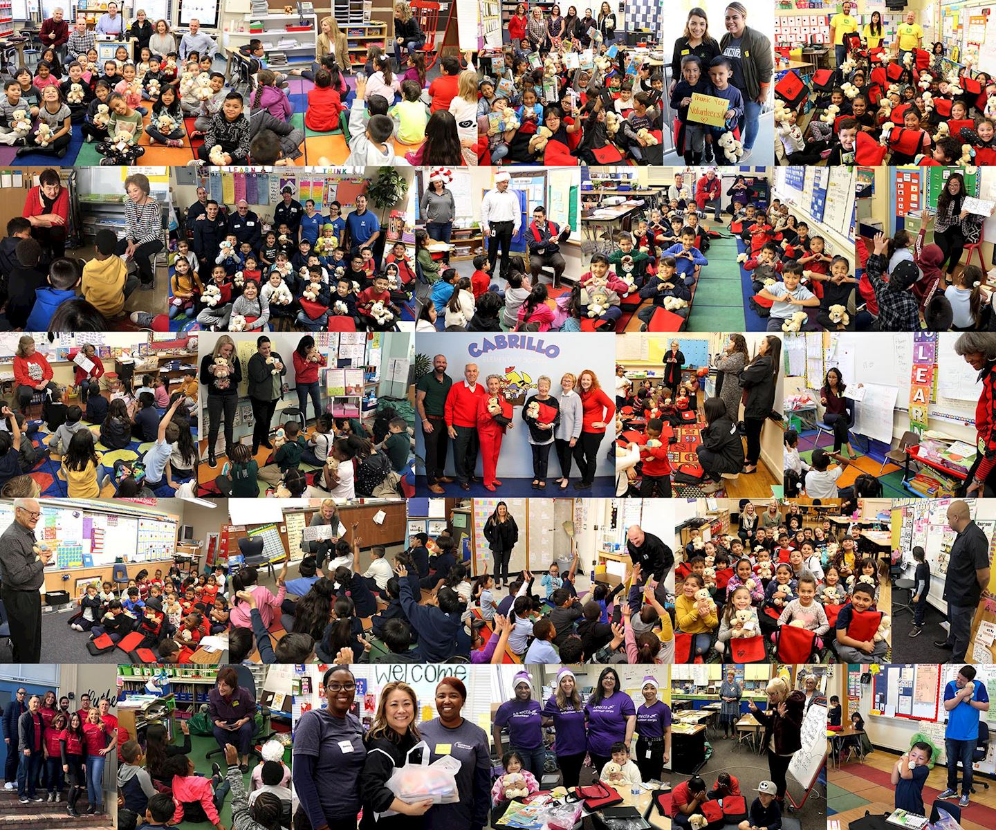 Operation Teddy Bear volunteers visiting underserved first graders at local schools