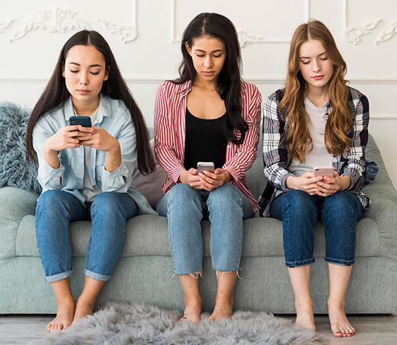 Teens using phones